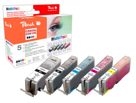 Peach  Spar Pack Tintenpatronen XL-Ergiebigkeit, kompatibel zu Canon Pixma MX 725