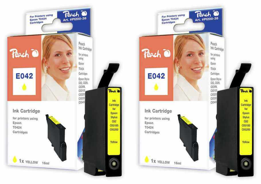 Peach  Doppelpack Tintenpatronen gelb kompatibel zu Epson Stylus C 82