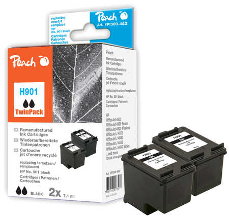 Peach  Doppelpack Druckköpfe schwarz kompatibel zu HP OfficeJet J 4540