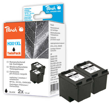 Peach  Doppelpack Druckköpfe schwarz kompatibel zu HP DeskJet 2050