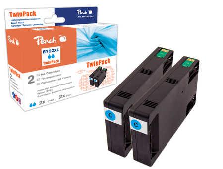 Peach  Doppelpack Tintenpatronen cyan kompatibel zu Epson WorkForce Pro WP-4095 DN