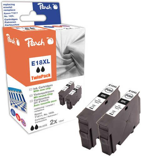 Peach  Doppelpack Tintenpatronen schwarz kompatibel zu Epson Expression Home XP-302