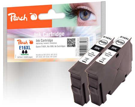 Peach  Doppelpack Tintenpatronen schwarz kompatibel zu Epson WorkForce WF-2530 WF
