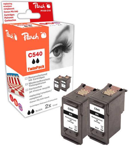 Peach  Doppelpack Druckköpfe schwarz kompatibel zu Canon Pixma MG 2250