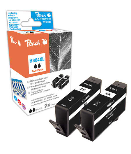 Peach  Doppelpack Tintenpatronen schwarz kompatibel zu HP PhotoSmart Premium C 410 Series