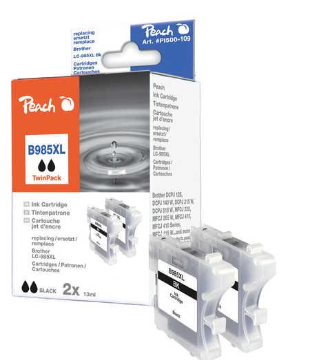 Peach  Doppelpack Tintenpatronen schwarz kompatibel zu Brother DCPJ 125