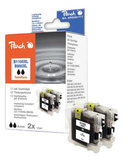 Peach  Doppelpack Tintenpatronen schwarz kompatibel zu Brother DCP-163 C
