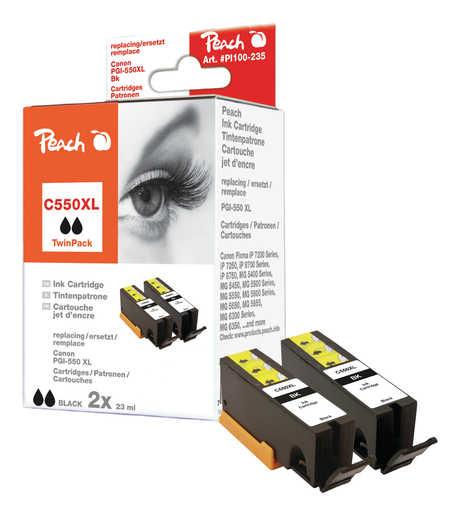 Peach  Doppelpack Tintenpatronen schwarz kompatibel zu Canon Pixma MX 725