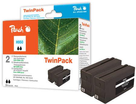 Peach  DoppelpackTintenpatrone schwarz kompatibel zu HP OfficeJet Pro 251 dw