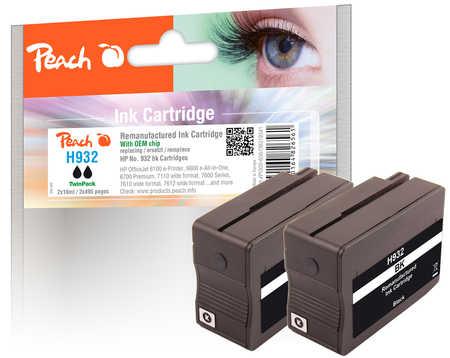 Peach  Doppelpack Tintenpatrone schwarz kompatibel zu HP OfficeJet 6700 Premium