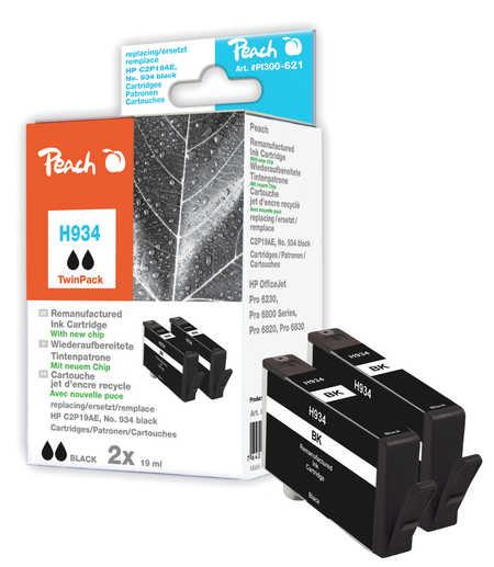 Peach  Doppelpack Tintenpatrone schwarz kompatibel zu HP OfficeJet Pro 6230