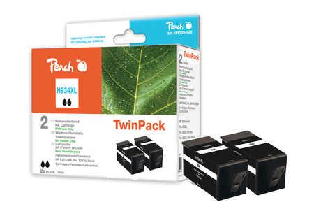 Peach  Doppelpack Tintenpatrone schwarz HC kompatibel zu HP OfficeJet Pro 6230