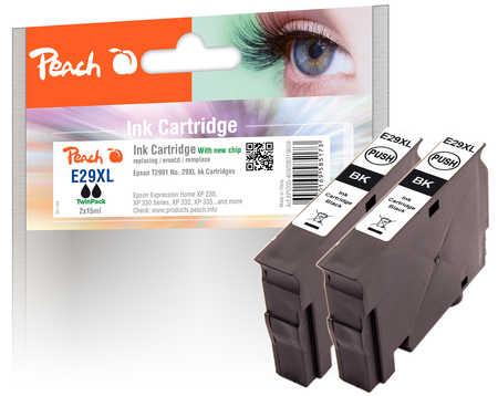 Peach  Doppelpack Tintenpatronen XL schwarz kompatibel zu Epson Expression Home XP-452