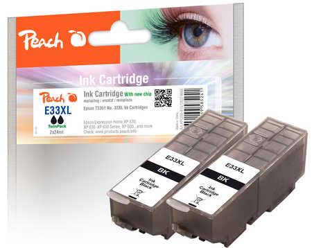 Peach  Doppelpack Tintenpatronen XL schwarz kompatibel zu Epson Expression Premium XP-830