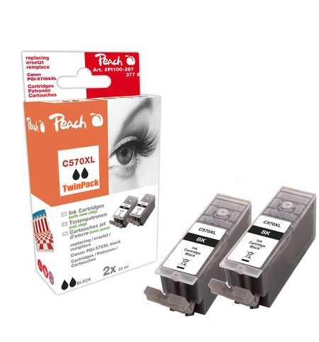 Peach  Doppelpack Tintenpatronen XL schwarz kompatibel zu Canon Pixma TS 6050 Series