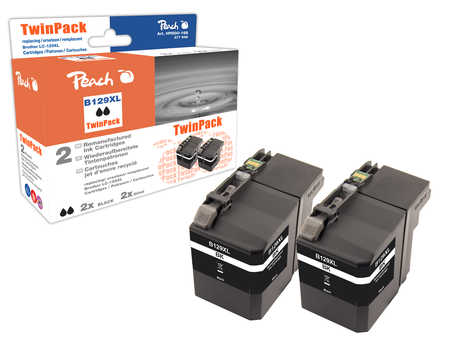 Peach  Doppelpack Tintenpatronen XXL schwarz kompatibel zu Brother MFCJ 6520 DW