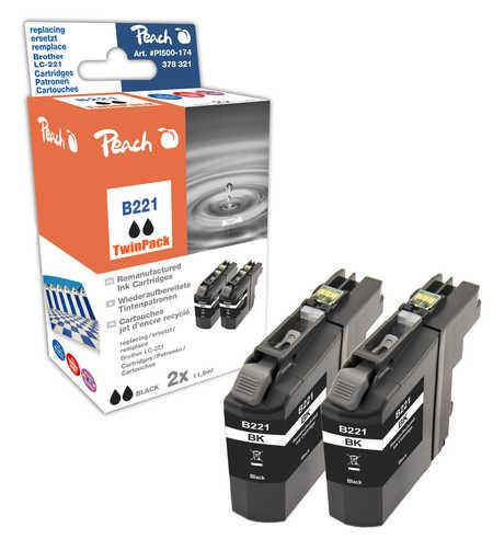 Peach  Doppelpack Tintenpatronen schwarz kompatibel zu Brother MFCJ 480 DW