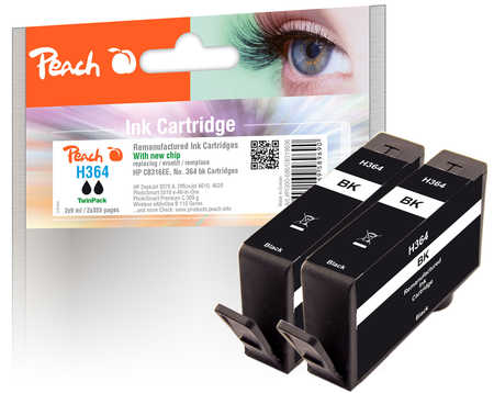 Peach  Doppelpack Tintenpatrone schwarz kompatibel zu HP PhotoSmart Premium C 410 Series